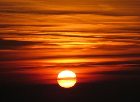 Sunset, Orange, Sky, Fiery, Sunlight, Cloudy, Dark
