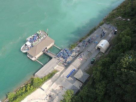 Looking Down Maid Of The Mist, Niagara Falls, Dock