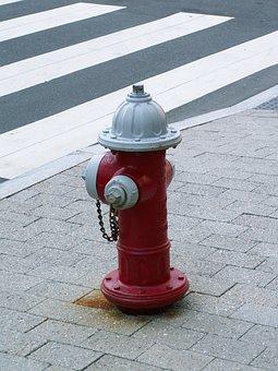 Hydrant, Fire, Red, Usa, Zebra Crossing, Pavement