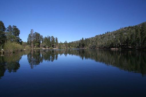 Lake, Jenks Lake, Blue Sky, Reflections On The Water