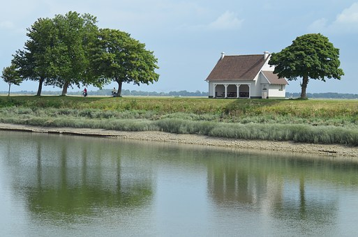 Bay Sum, River, Field, Landscape, Trees, Green, France