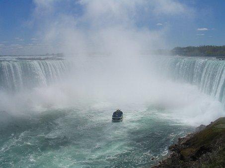 Niagara Falls, Mist, Waterfall, Boat, Landmark, Maid