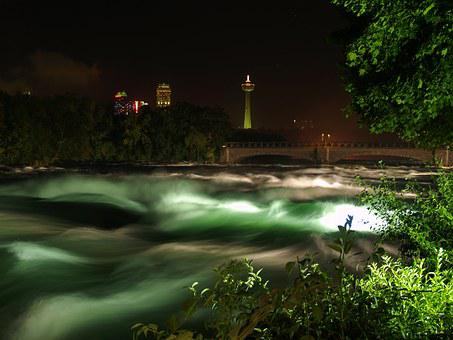 Rapids, Niagara Falls, Night, Niagara, Water, Canada