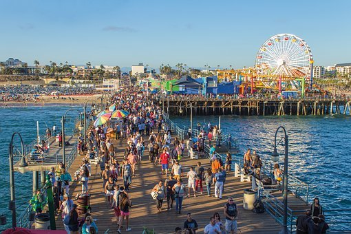 Santa Monica Pier, People, Hurry, Ferriswheel, Beach