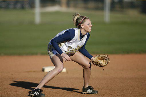 Softball, Player, Girl, Action, Short Stop, Focused