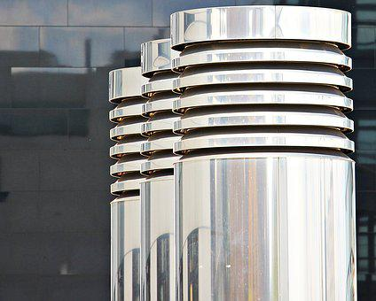 Columnar, Three Pillars, Chrome, Metal, Gloss, Silver