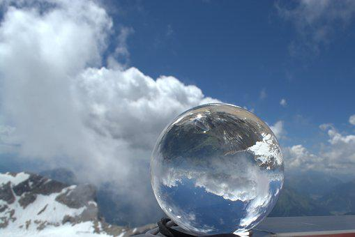 Ball, Glass Ball, Globe Image, Clouds, Sky, Mountains