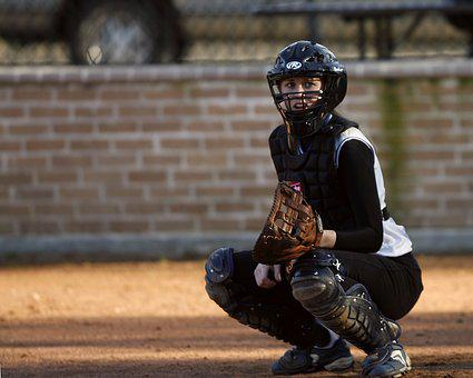 Softball, Catcher, Player, Sport, Female, Girl