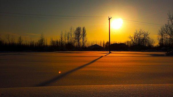 Sun, Snowy, Roads, Golden, Yellow, Sunlight, Sunrise