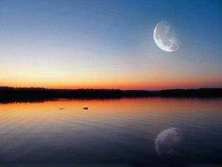 Evening Lake, Glow, Big Moon, Finland, Dark, Twilight