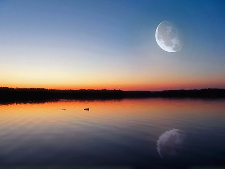 Evening Lake, Glow, Big Moon, Finland, Dark, Twilight