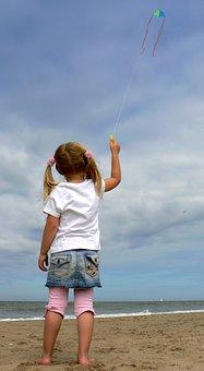 Kite, Child, Sky, Beach, Lottle, Girl, Little Girl