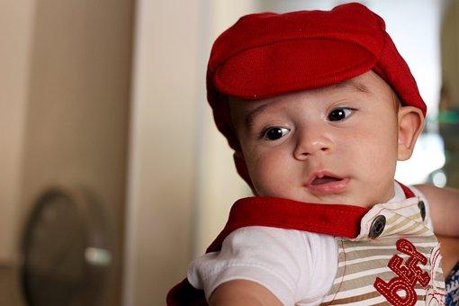 Baby, Smiling, Bonnet, Cap, Red, Childish, Guy