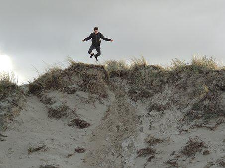 Jump, Child, Play, Boy, Dunes, Sand, Outdoor, Texel