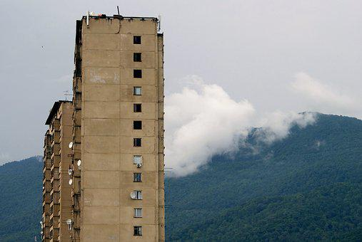 Gagra, Abkhazia, House, Devastation, Sky, Mountain