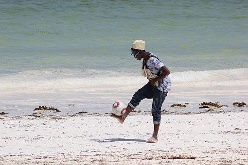 Africa, Tanzania, Zanzibar, Football, Kid, Playing