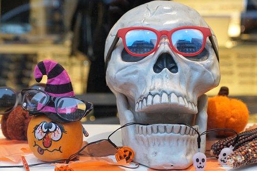 Head, Dead, Glasses, Halloween, Decor, Window, Glass