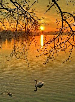 Sunset, Lake, Sunsets, Italy, Landscape, Sun Sunset