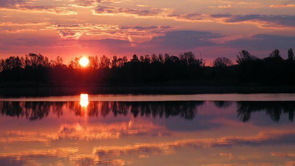 Sunset, Trees, Lake, Waters, Silhuette, Evening Sky