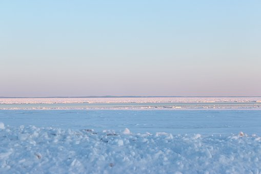 Sunset, Winter, Ice, Water, Snow, Nature, Landscape