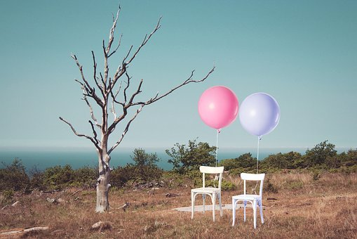 Chair, Chairs, Balloon, Two, Balloons, Tree, One