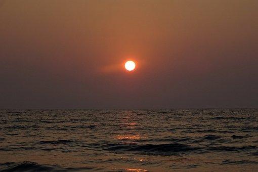 Sunset, Sun, Setting, Sea, Arabian Sea, Sundown