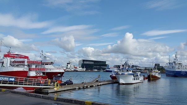 Iceland, Rejkavyk, Port, Ships, Sea