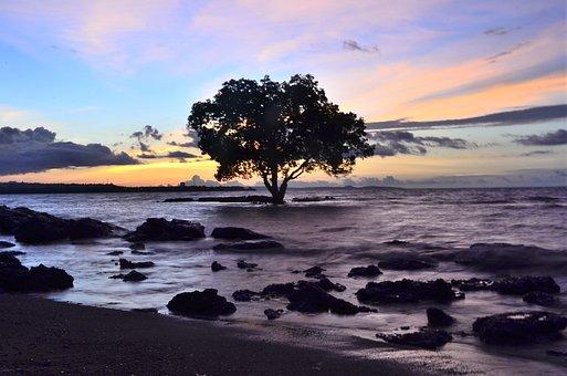 Sunset On Sea, Indonesia, Sunset, Sun, Seascape, Nature