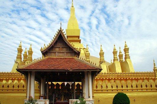 Laos, Vientiane, Wat Pha That Luang, Golden Pagoda