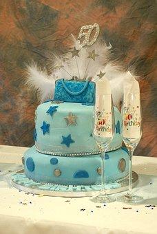 Cake, Birthday, Celebration, 50th, Celebrate, Glasses