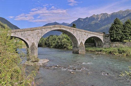 Adda River, Romanesque Bridge, Ganda Bridge, Valtellina