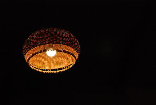 Light, Lamp, Light Bulb, Negative Space, Night, Dark