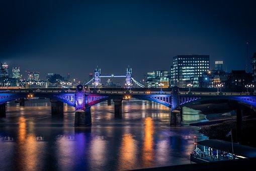 London, Tower Bridge, Night, Cityscape, Bridge, England
