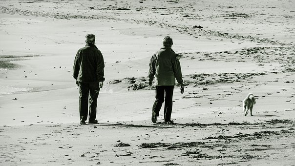 Old Couple, Third Age, Enjoying Life, Walking, Beach