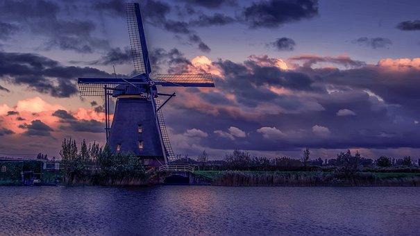 Netherlands, Dutch Windmill, Windmill, River, The Sky