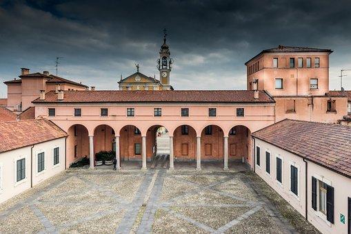 Cavenago, Roof, Campanile, Sky, Arcade, City, Roofs