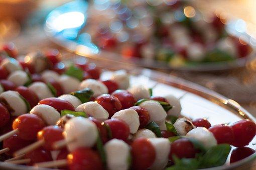 Tomato, Mozzarella, Skewers, Vegetables, Basil