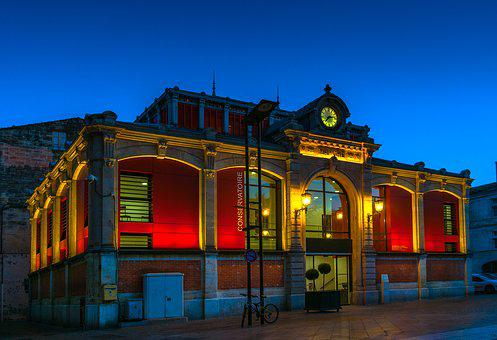 Conservatory, Monument, Halles, Architecture, Night
