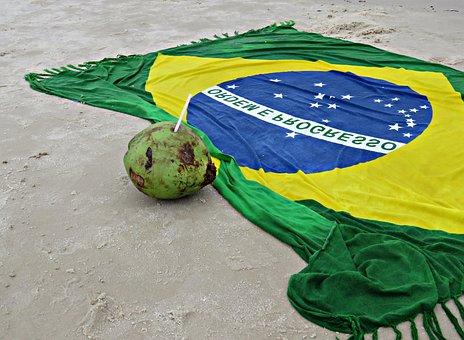 Brazil, Beach, Coconut Water, Flag, Sand, Coco