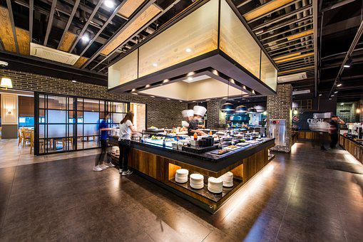Buffet, Salad Bar, Restaurant, Food Table, Sushi