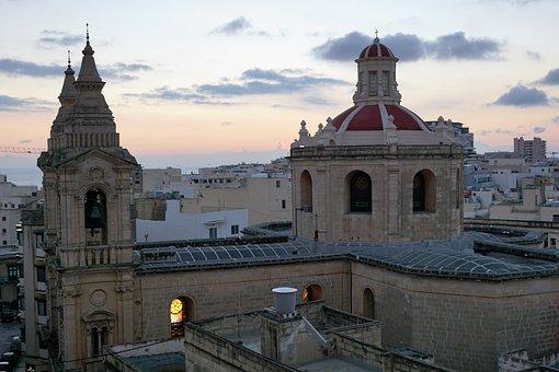 Malta, Sliema, City, Mediterranean, Cathedral