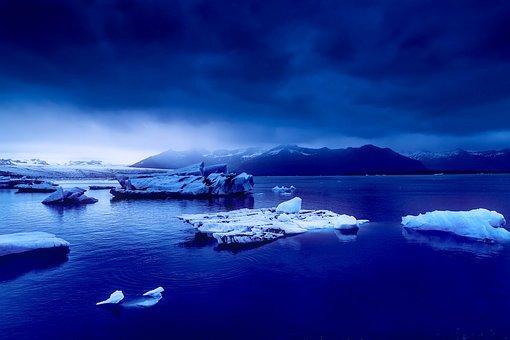 Iceland, Blue, Sunset, Dusk, Sky, Clouds, Mountains