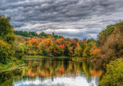 Vermont, Pond, Reflection, Cloudy, Sky, Foliage, Autumn
