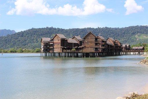 Malaysia, Langkawi, Houseboat, Mountains, House, Lake