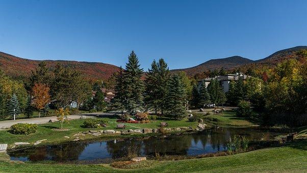 Vermont, Pond, Mountains, Foliage, Autumn, Fall