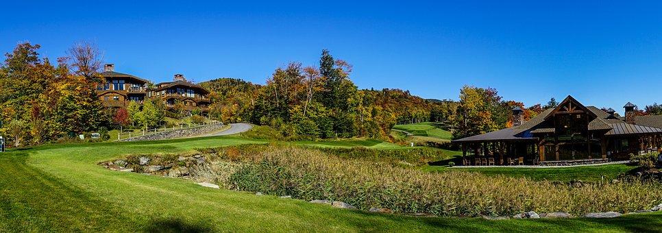 Vermont, Golf Course, Foliage, Mountains, Autumn, Fall