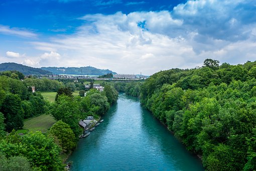 Aare, Bern, Switzerland, Old Town, Water, Forest