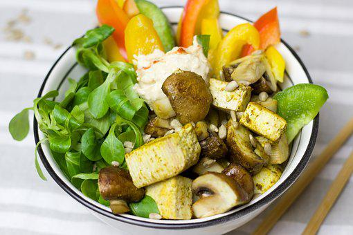 Vegetables, Healthy, Paprika, Mushrooms, Salad, Tofu