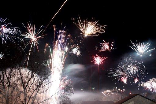 Fireworks, Rocket, New Year's Eve, Night, Sky