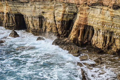 Sea Caves, Waves, Sea, Nature, Cave, Rock, Scenery